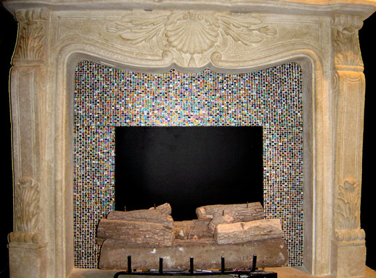 Our Favorite Artistic Mosaic And Fused Glass Tiles To Cover A Fireplace Medium