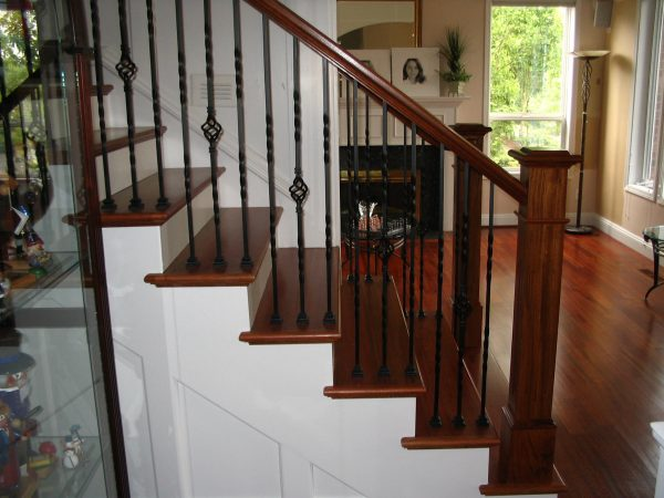 Our Favorite Brazilian Cherry Handrail Custom Made Posts Wrought Iron Medium