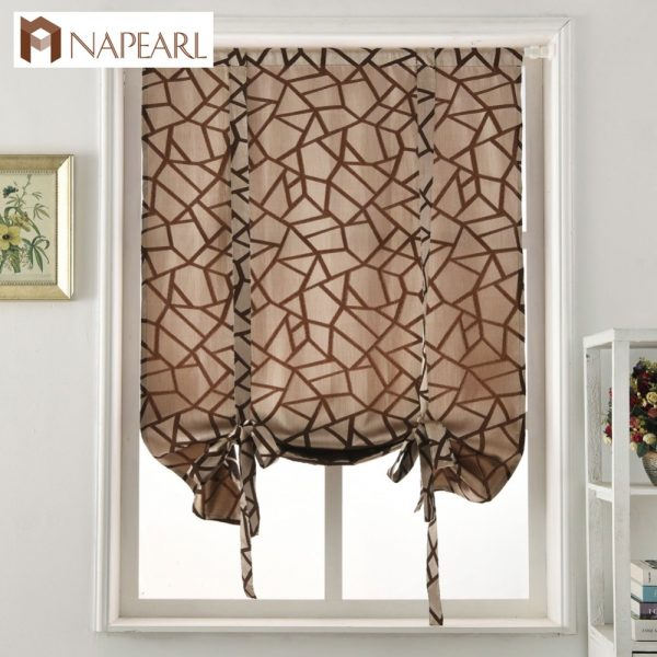 Our Favorite Geometric Design Thick Jacquard Short Curtains Kitchen Medium