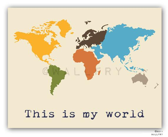 Our Favorite Kids Wall Art World Map Print Childrens Wall Art Kid Medium