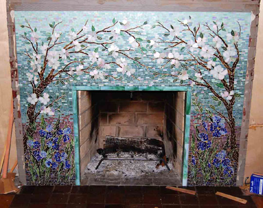 Our Favorite Mosaic Fireplace Surround Dogwood And Irisesdesigner Medium