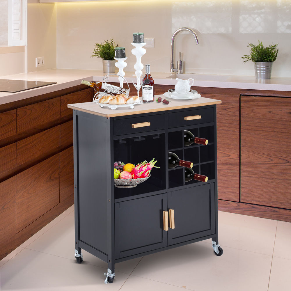 our favorite portable kitchen rolling cart island storage wine rack