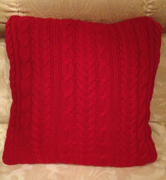 Our Favorite Red Cable Knit Fisherman Sweater Pillow Cover By Medium