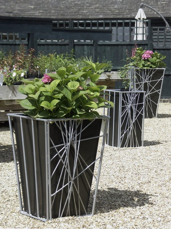 Outdoor Casual Garden Decoration Design Ideas Using Galvanized Planters Modern Medium