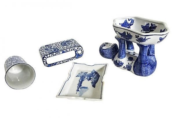 Perfect Blue   White Bathroom Accessories Set Of 4chairish Medium