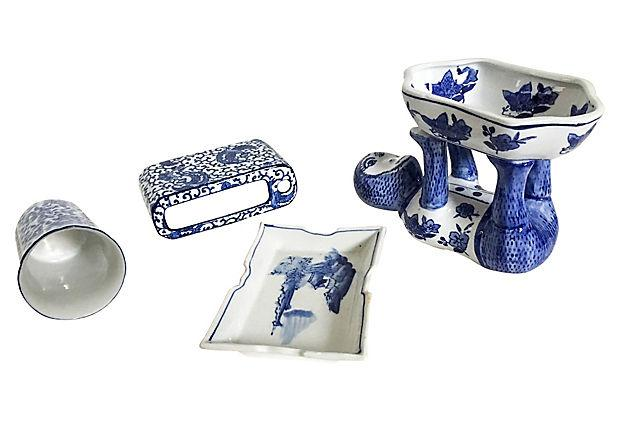 perfect blue   white bathroom accessories set of 4chairish