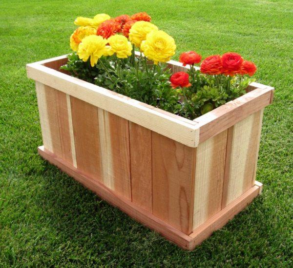 Perfect Garden Decor Wonderful Rectangular Wooden Outdoor Planter Medium