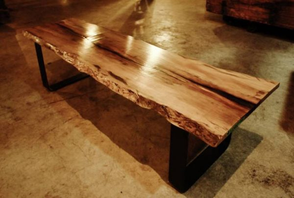 Perfect Live Edge Wood Slab Coffee Bench  Spalted Sycamoreebay Medium