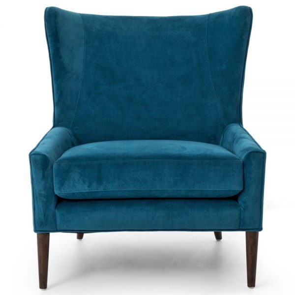 Perfect Paola Mid Century Peacock Blue Velvet Wing Lounge Chair Medium