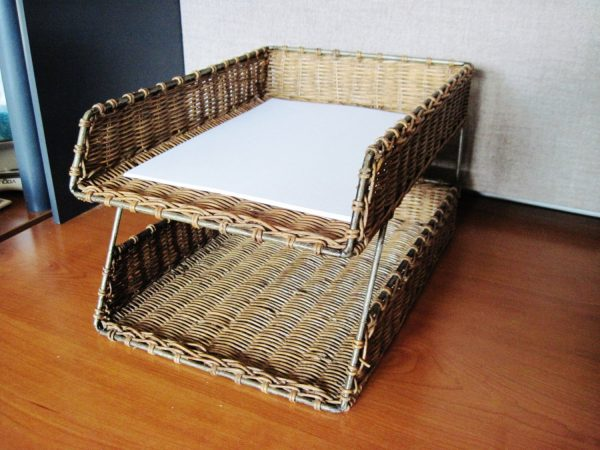 Perfect Rattan Desk Paper Organizer Paper Holder Printer Paper Medium