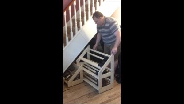 Perfect Under Stairs Sliding Shoe Rack Youtube Medium