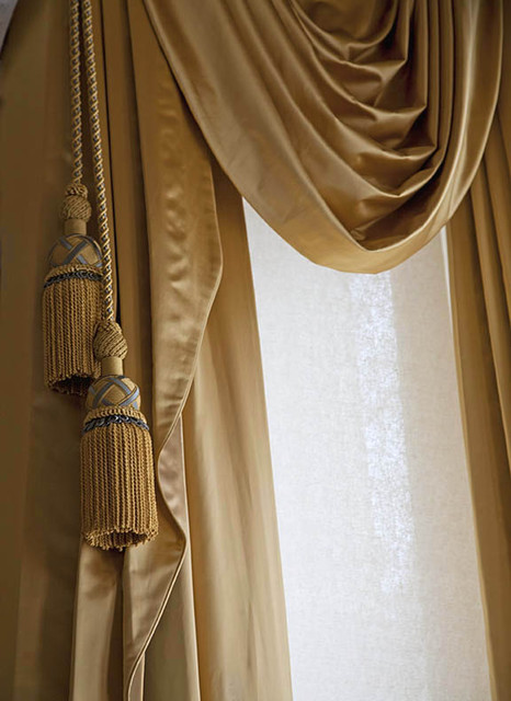 Perfect Victorian Style Window Treatments In Bronze Satin Fabric