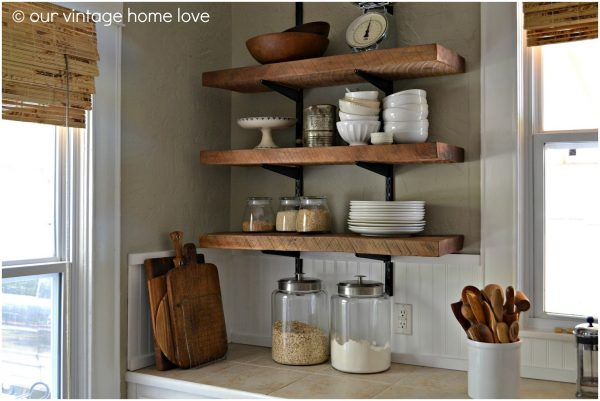 Perfect Wooden Kitchen Wall Shelf Medium