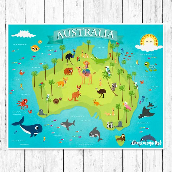 Popular Australia Animal Map Kids Maps Map Of Australia Kids Wall Maps Medium