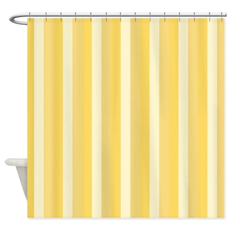 Popular Bright Yellow Stripes Pattern Shower Curtain By Medium