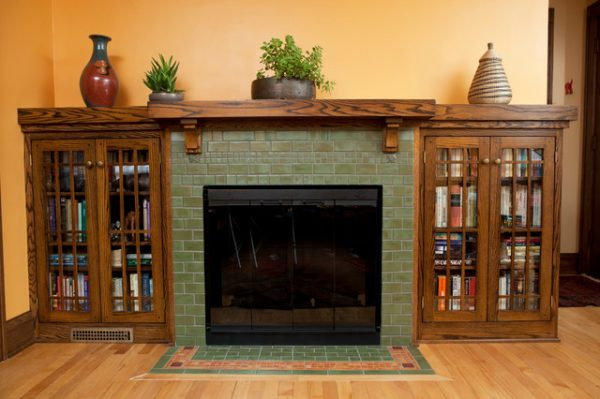 Popular Classic Arts   Crafts Fireplace Craftsman Living Room Medium