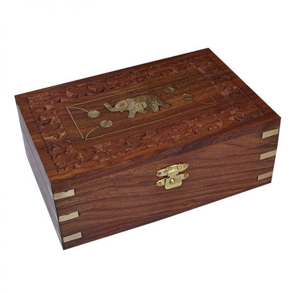 Popular Hand Engraved Elephant Design Jewelry Box Medium