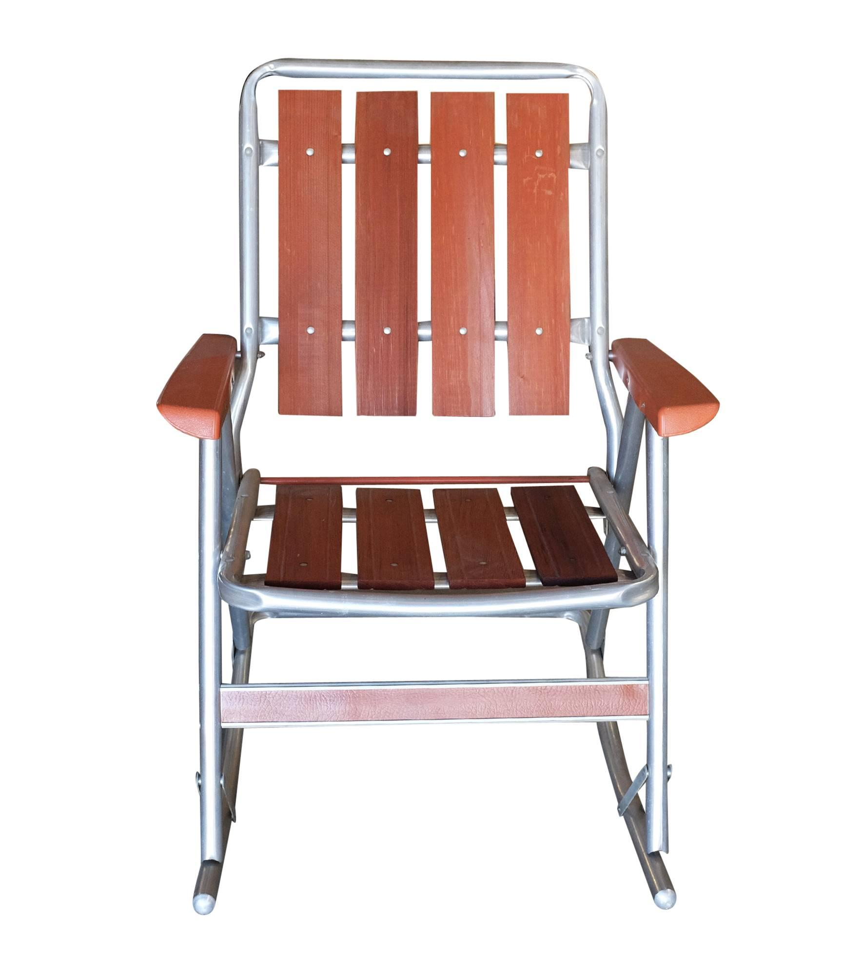 popular midcentury aluminum and wood outdoor folding rocking