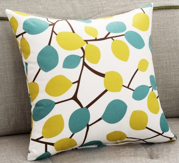 Popular Yellow And Blue Leaf Sofa Cushion Covers Autumn Decorative Medium