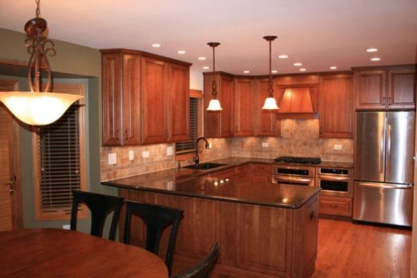 Recessed Lighting Placement Kitchen With Re Cherry Wood Material Medium