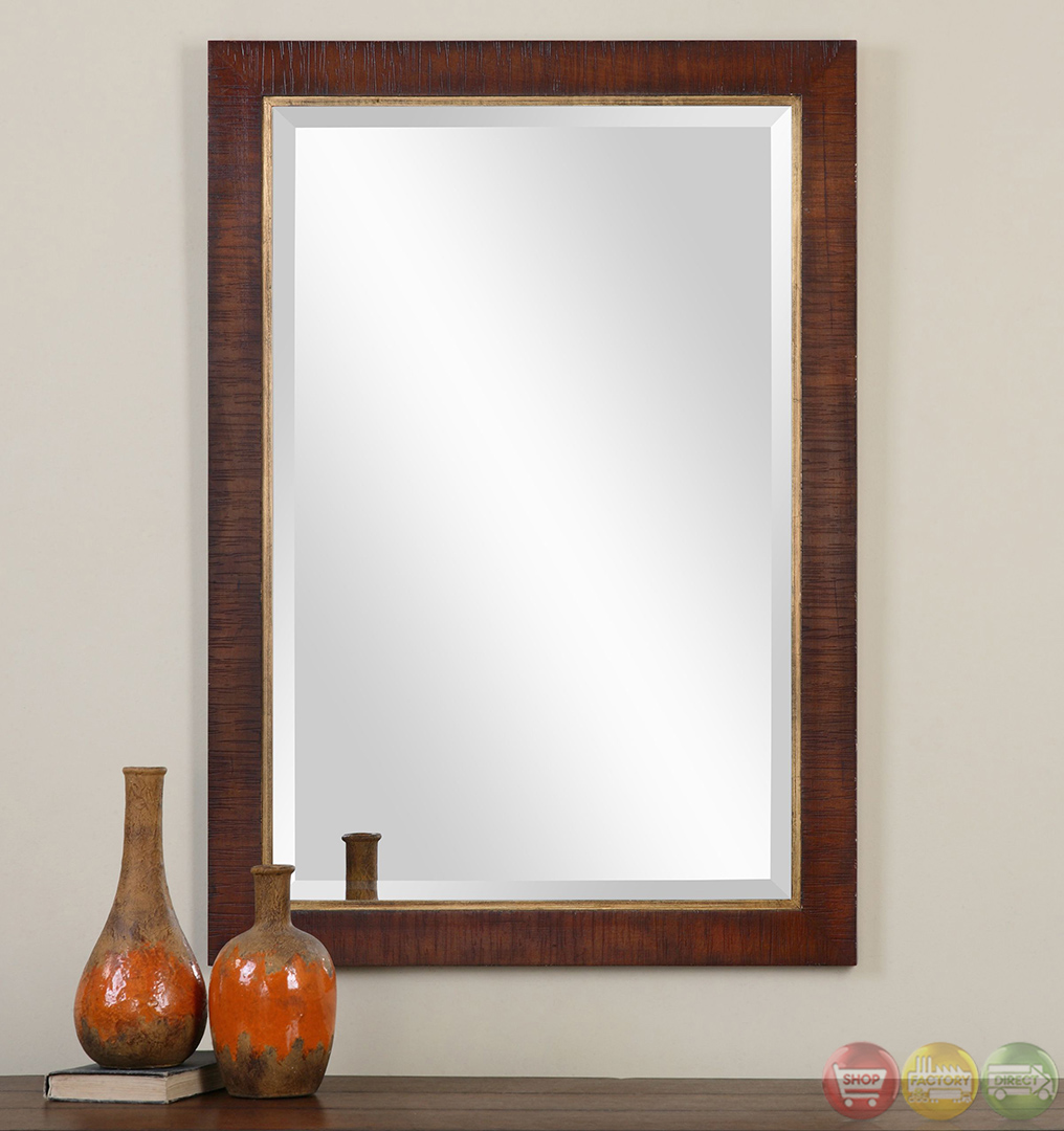 search alton traditional burnished walnut stain mirror 14491