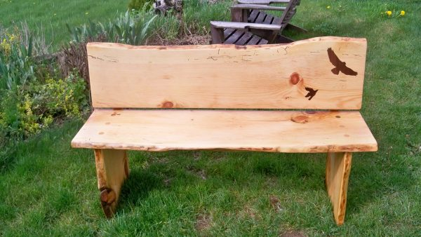 Search Salvaged Live Edge Wood Slab Bench With Inlays By Medium
