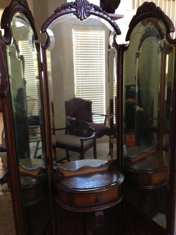 Search Three Way Mirrorsearly 1900s Vanity 3way Mirror And Medium
