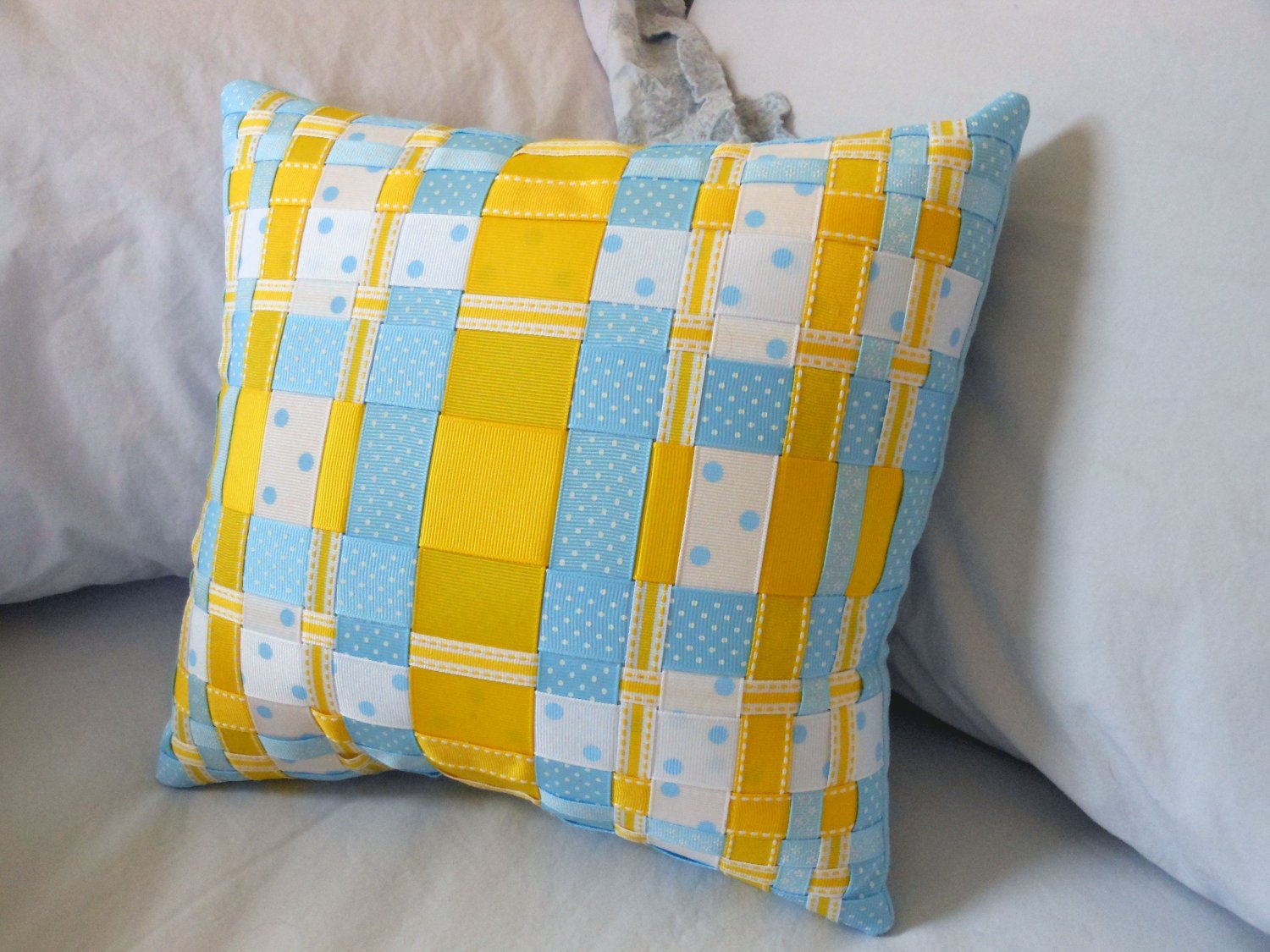 simply blue and yellow decorative woven ribbon pillow grosgrain