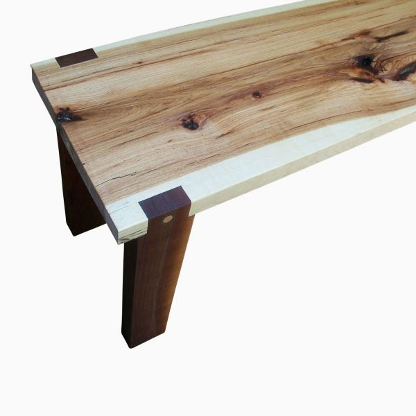 Simply Buy A Hand Made Handmade Hickory Slab And Walnut Bench Medium