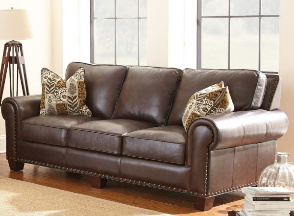 Simply Escher Top Grain Leather Sofa With 2 Accent Pillows From