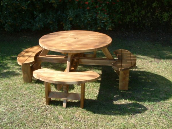 Simply Excalibur Round Picnic Bench Table Beer Pub Garden Medium