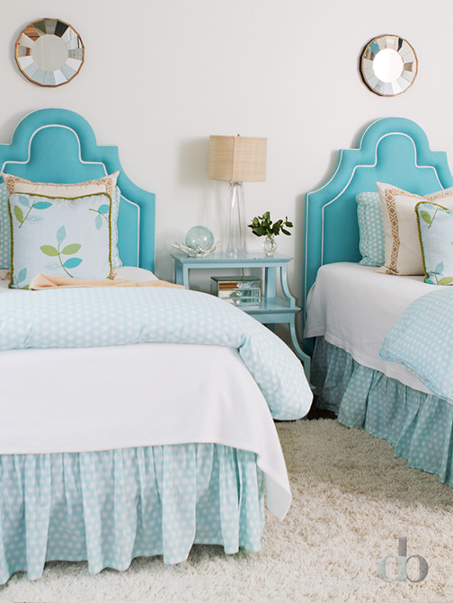 Simply Kids Turquoise Headboards Transitional Girls Room Medium