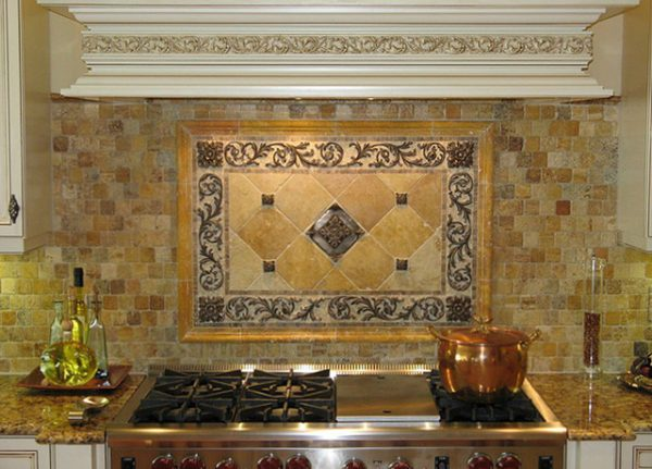 Simply Kitchen Backsplash Mosaic And Metal Accent Mural Medium