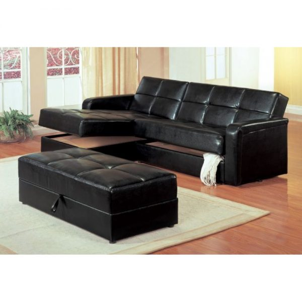 Simply Kuser Contemporary Chaise Sofa Sleeper Sectional With Storage Medium