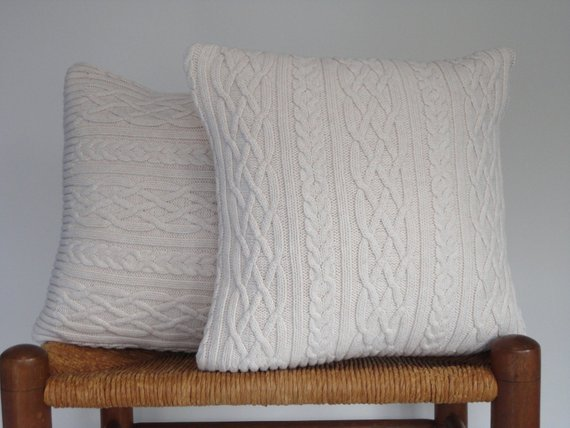 Simply Pillow Cover Knitted Sweater Off White Cable By Medium