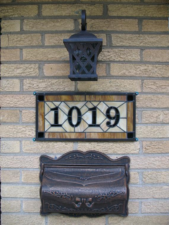 Simply Stained Glass Address House Number Plaque Wall Decor Porch Medium