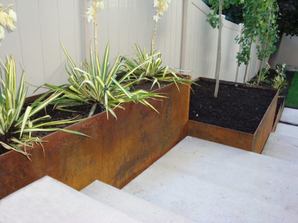 Stair Ornament With Galvanized Planters Modern Medium