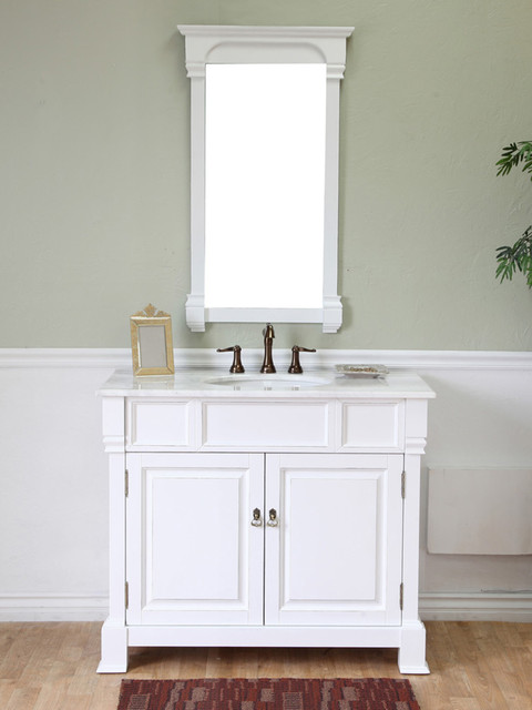 Style 42 Helena Single Bath Vanity White Traditional Medium