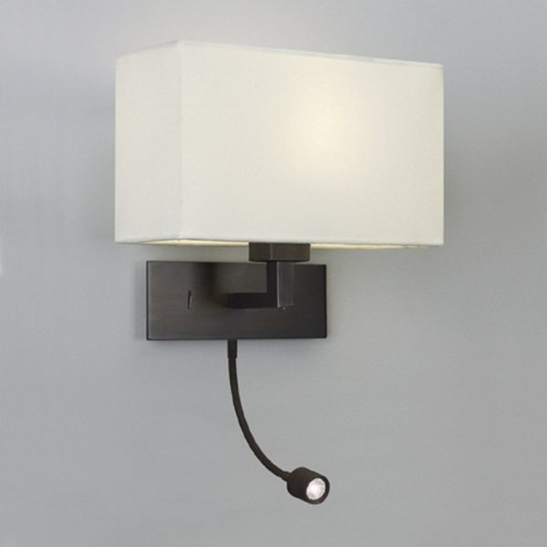 Style Bronze Wall Light With White Fabric Shade And Led Reading Medium