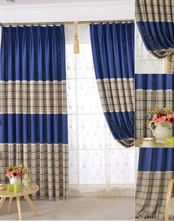 Style Chic Blue Beige Cotton Linen Plaid Curtains For Boys Bedroom Medium
