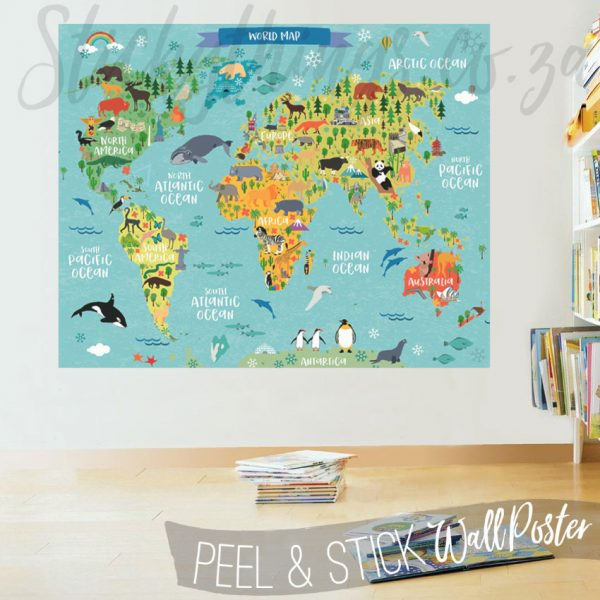 Style Childrens World Map Decal Poster World Map Wall Sticker Medium