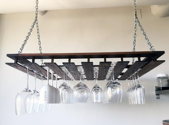 Style Custom Hanging Wine Glass Rack Medium