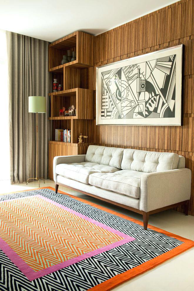 Style Fashionable Modern Orange Rug Furniture Mid Century ...