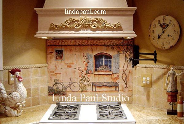 Style French Country Kitchen Backsplash Tiles Wall Murals Medium