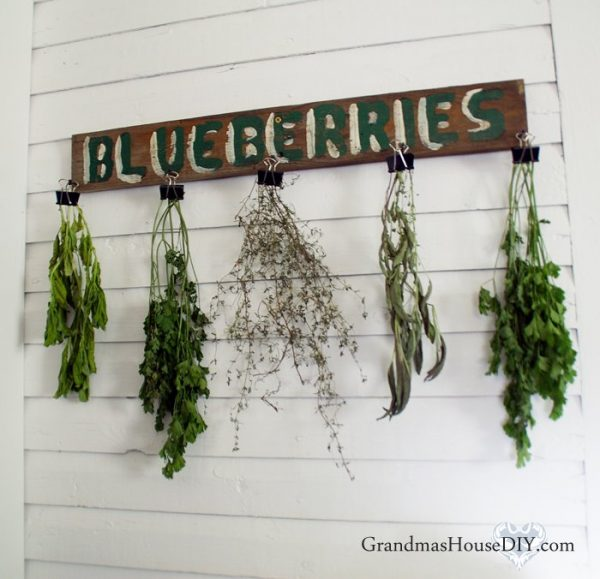 Style Herb Drying Rack Utilizing An Old Sign And Office Binder Clips Medium