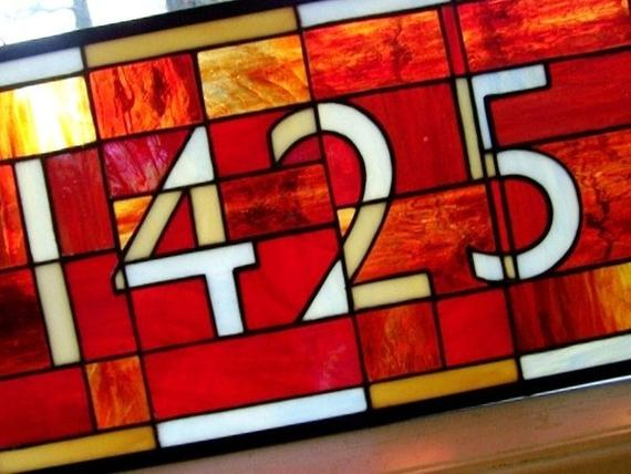 Style House Numbers In Stained Glass With Contemporary Font 4digit Medium