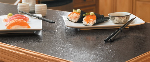 style kitchenrecycled paper countertops with chopsticks black