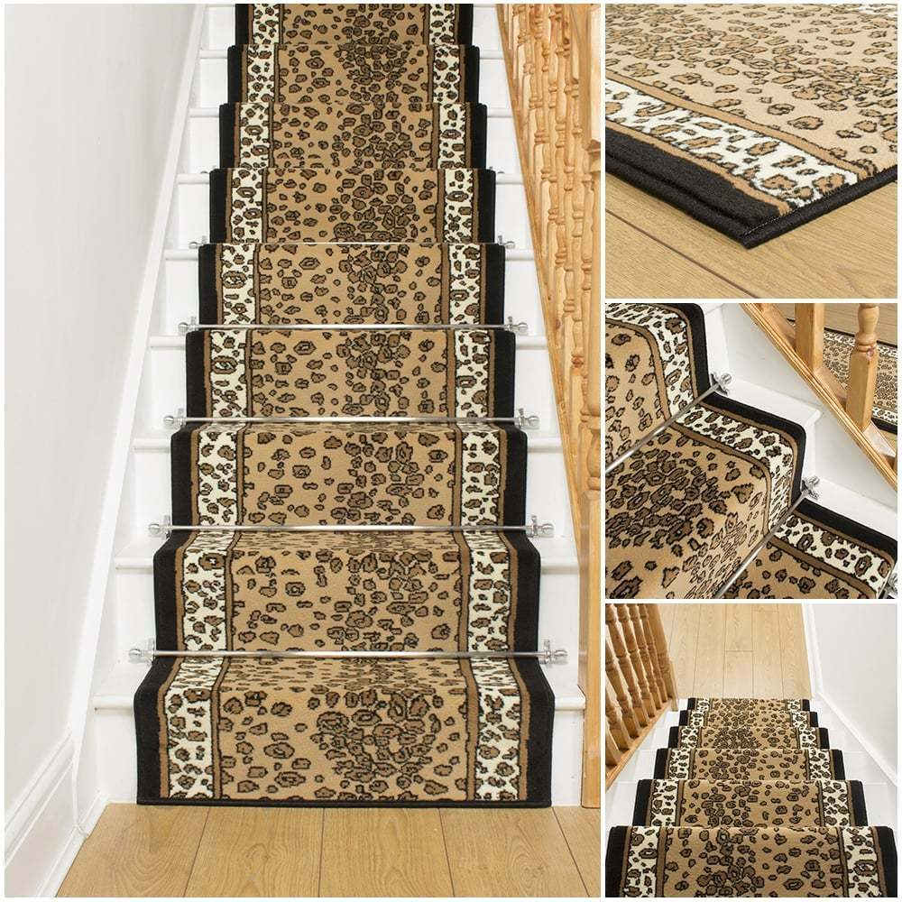 style leopard stair carpet runner for narrow staircase animal