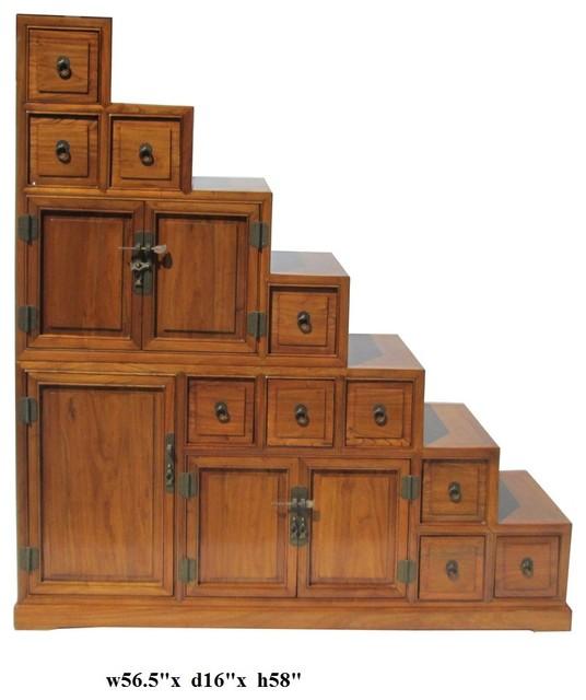 Style Oriental Japanese Style Step Tansu Cabinet Medium