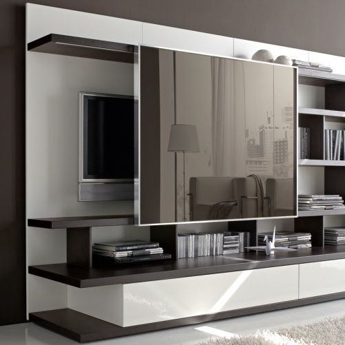 Style Sliding Mirror Concealing Tv Odion Free Standing Tv Wall Medium